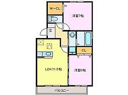 メルべーユMII[1階]の間取り