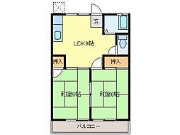 三重県鈴鹿市中旭が丘2丁目の賃貸アパートの間取り
