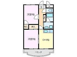 三重県亀山市本町2丁目の賃貸マンションの間取り