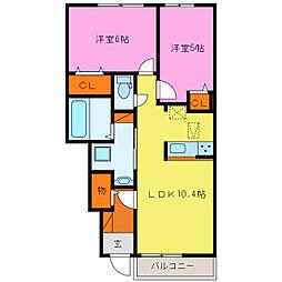 三重県鈴鹿市江島町の賃貸アパートの間取り
