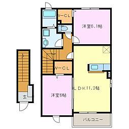 グレイスメゾンMII[2階]の間取り