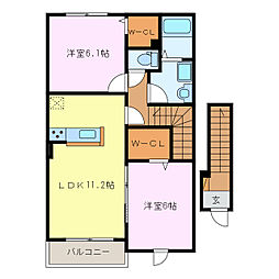 エスポワール W[2階]の間取り