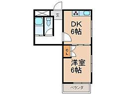 シティガーデン新通[6階]の間取り