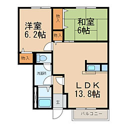 和歌山県和歌山市田尻の賃貸アパートの間取り