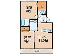 D-roomパストラーレII[1階]の間取り