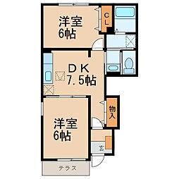 和歌山県岩出市金屋の賃貸アパートの間取り
