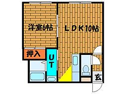 北海道函館市五稜郭町の賃貸アパートの間取り