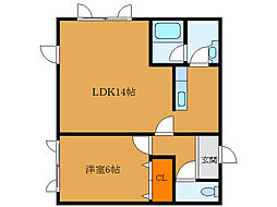北海道函館市田家町の賃貸アパートの間取り