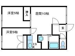北海道函館市赤川1丁目の賃貸アパートの間取り