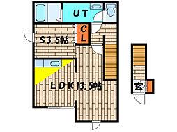 北海道函館市湯川町3丁目の賃貸アパートの間取り