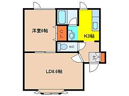 北海道函館市富岡町1丁目の賃貸アパートの間取り