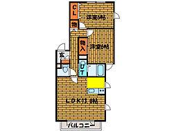 北海道亀田郡七飯町本町8丁目の賃貸アパートの間取り