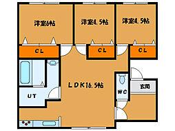 北海道函館市高丘町の賃貸アパートの間取り