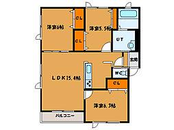 北海道亀田郡七飯町本町3丁目の賃貸アパートの間取り
