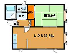北海道北斗市七重浜8丁目の賃貸アパートの間取り