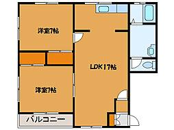 北海道北斗市久根別4丁目の賃貸アパートの間取り