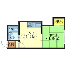 北海道函館市大手町の賃貸アパートの間取り