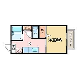 平形巴ハイツII[2階]の間取り