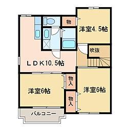 オーク・K[2階]の間取り