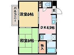 愛媛県新居浜市久保田町3丁目の賃貸アパートの間取り