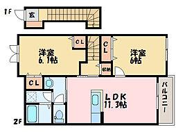 シュウ・レミングC[2階]の間取り