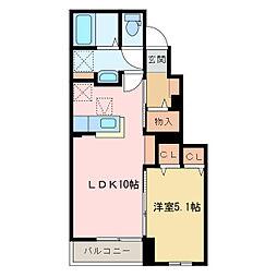 国領1丁目アパート C[C103号室]の間取り