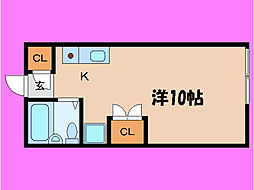 滋賀県大津市若葉台の賃貸アパートの間取り