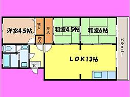 滋賀県大津市国分1丁目の賃貸マンションの間取り