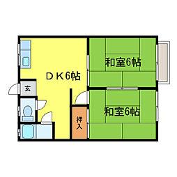 滋賀県大津市一里山4丁目の賃貸アパートの間取り