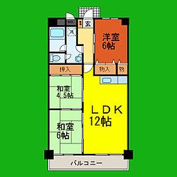 滋賀県大津市赤尾町の賃貸マンションの間取り
