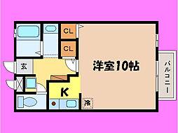 滋賀県大津市国分1丁目の賃貸アパートの間取り