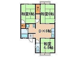 滋賀県大津市大江7丁目の賃貸アパートの間取り