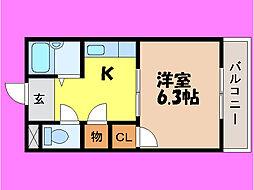 滋賀県大津市石居3丁目の賃貸マンションの間取り