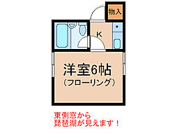 滋賀県大津市秋葉台の賃貸アパートの間取り