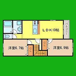 滋賀県大津市石山寺3丁目の賃貸アパートの間取り