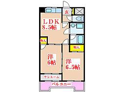 ヒルクレスト新上橋[3階]の間取り