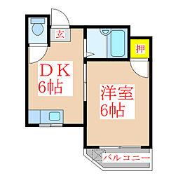 中村ハイツ[4階]の間取り