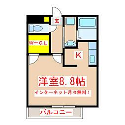 鹿児島市電2系統 中洲通駅 徒歩6分の賃貸マンション 4階ワンルームの間取り