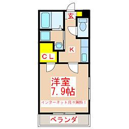 鹿児島市電1系統 荒田八幡駅 徒歩4分の賃貸マンション 2階1Kの間取り
