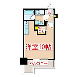 鹿児島市電1系統 郡元駅 徒歩5分の賃貸マンション 11階ワンルームの間取り