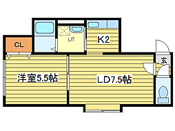 accessible:7アクセシブル7[3階]の間取り