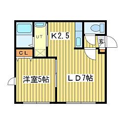 北海道札幌市東区北十二条東2丁目の賃貸アパートの間取り