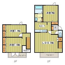 [テラスハウス] 北海道札幌市東区北二十三条東20丁目 の賃貸【/】の間取り