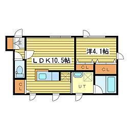 札幌市営東豊線 新道東駅 徒歩4分の賃貸マンション 4階1LDKの間取り