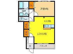 メリーシャトレーン[1階]の間取り