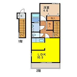 メルヴェールA[2階]の間取り
