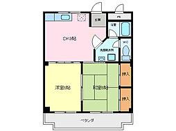 愛知県東海市中央町7丁目の賃貸マンションの間取り
