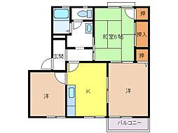花水木タウン[B201号室]の間取り