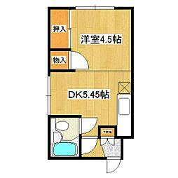 JR石北本線 北見駅 徒歩13分の賃貸アパート 4階1DKの間取り