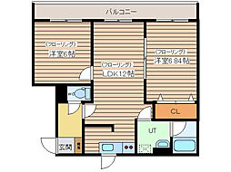 小町川LIVE 3階2LDKの間取り